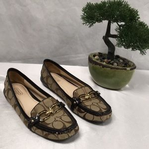 Coach Size 9 Signature Flats Slides Brown Loafers